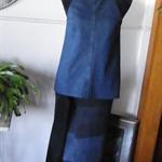 Tie neck denim top with cut-away armholes