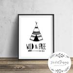 Wild and Free Teepee - Wall Art Print