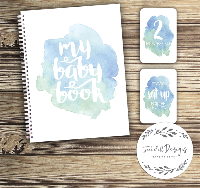 gift set baby record book milestone cards watercolour splashes