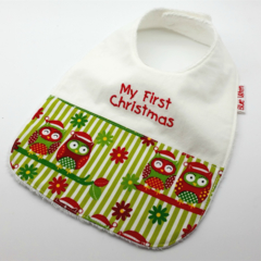 Christmas Baby Bib, Embroidered with My First Christmas, Little Owl Fabric.