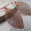 Red Copper Filigree Leaf Pendant Earrings on nickel free rose gold ball end fren