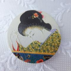 Japanese Geisha Print Wood Print Brooch
