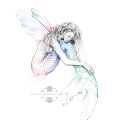 8x10 Mermaid's Drift Rainbow Tail Wings Pencil Drawing Art Print