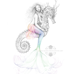 8x10 PRINT Mermaid Riding Seahorse Rainbow Tail Drawing Art  Tattoo