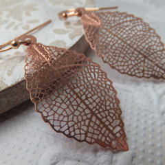 Red Copper Filigree Leaf Pendant Earrings on nickel free rose gold ball end fren