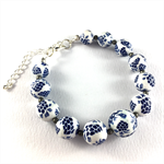 Handcrafted Polymer Clay Bracelet- white and indigo grapes