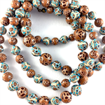 Handcrafted Polymer Clay Long Necklace- turquoise and tan spots