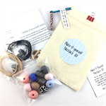 Make it yourself necklace gift kit-handcrafted polymer clay beads- peach, blue