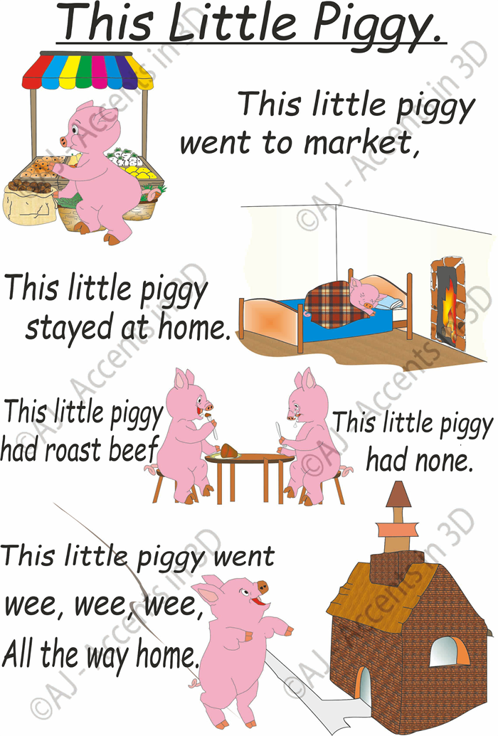 This Little Piggy, Traditional Nursery Rhyme Decal | Kids Accents in