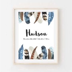 Personalised Print - Watercolour feathers with name and birth details. A4 Print