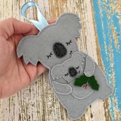 Mummy koala Christmas decoration, Australian animal, grey, Aussie, Xmas baby