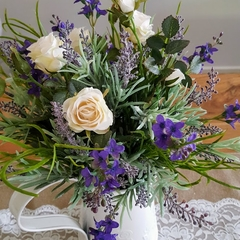 Table Flowers - Rustic Lavender & Silk Rose Table Arrangement in White Jug