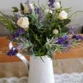 Table Flowers - Rustic Lavender & Silk Rose Table Arrangement in White Jug