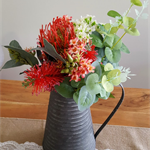 Table Flowers - Red Australian Native Silk Flower Arrangement in Vintage Jug
