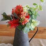 Table Flowers - Red Australian Native Silk Flower Arrangement in Vintage Jug