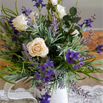 TABLE FLOWERS - Rustic Lavender & Rose Table Arrangement in White Tin Jug