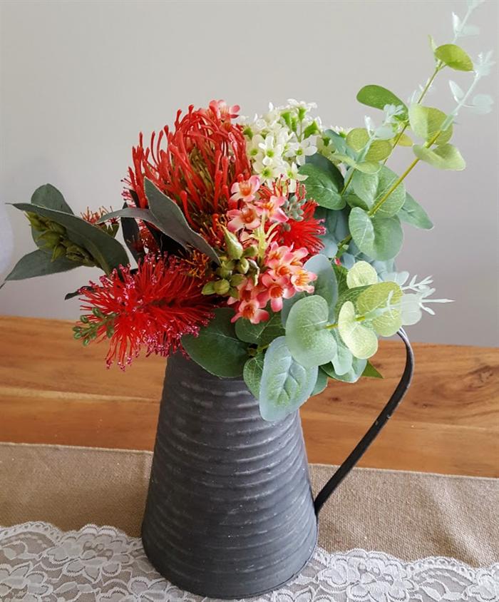 Table Flowers Red Australian Native Silk Flower Arrangement In