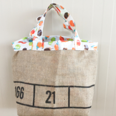 Recycled Coffee Burlap Grocery/Shopping Plastic Free Tote - Laminated Hedgehogs