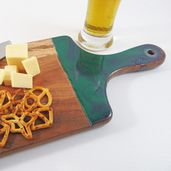 Resin Acacia Wood Serving Platter - Cheese Board - Teal & Purple -