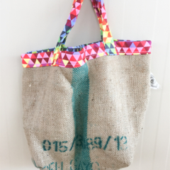 Recycled Coffee Burlap Grocery/Shopping Plastic Free Tote - Geometric