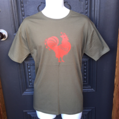 Mens Rooster on Khaki Tshirt, sizes L & XXL. Specify size in notes to seller.