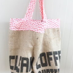 Recycled Coffee Burlap Grocery/Shopping Tote/Bag - Peach Flowers