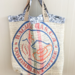 Recycled Coffee Burlap Grocery/Shopping Plastic Free Tote - Flowers