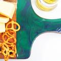 Resin Acacia Wood Serving Platter - Cheese Board - Teal & Purple -