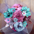 Beautiful bunch of pink and teal paper flowers