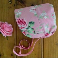 Pretty Pink Sun Bonnet, Handmade baby girls sun hat .