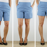 Womens cotton shorts, sizes 6-22, zip back in three lengths.