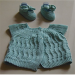Hand Knit, 3-9m, Wool, Lacy Cardigan & Tie Bootie Shoes, Green