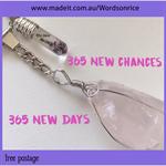 365 NEW DAYS - 365 NEW CHANCES rose quartz - keyring or bagcharm