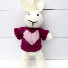 Lola the Knitted Bunny Rabbit Toy with Pink Love Heart Jumper