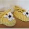 Hand Knit, Baby, Cotton, Ballet Style Shoes, Yellow, White Flower