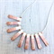 Handcrafted copper leaf, white and rose gold polymer clay adjustable necklace