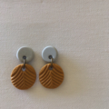 """Jungled"" Double Drop Studs - Grey + Mustard"