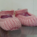 3-9 mths Baby Booties Shoes, FREE POST , Pink Wool, Hand Knit