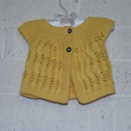 3 - 6 mth Baby, FREE POST , Cotton,  Cap Sleeve Lacy Cardigan, Yellow, Hand Knit