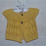 3 - 6 mth Baby, Cotton,  Cap Sleeve Lacy Cardigan, Yellow, Hand Knit