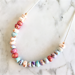 Handcrafted copper leaf, white and pastel polymer clay adjustable necklace