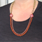 Flower rounds wood and chain necklace by Sasha+Max studio