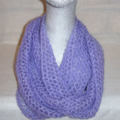 Hand knit lavender light n lacy infinity scarf