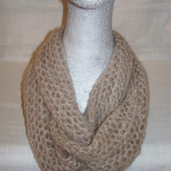 Hand knit beige light n lacy infinity scarf