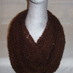 Hand knit chocolate light n lacy infinity scarf
