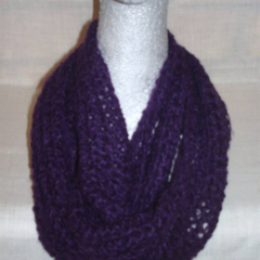 Hand knit mulberry light n lacy infinity scarf
