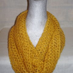 Hand knit gold light n lacy infinity scarf