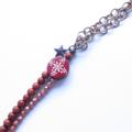 Flower wood + chain statement necklace