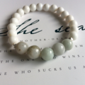 RESERVED for B Collins - Pale Green Jade & White Shell Beaded Stretch Bracelet