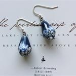 Handmade Porcelain Drop Earrings ~ Ocean Blue & White